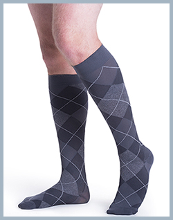 Sigvaris 832 Microfiber Series for Men and Women - Grey Argyle for Men pictured