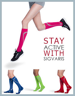 Sigvaris Traverse Socks for Men and Women showing pink, blue, lime green and red