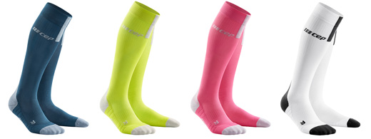 Showing 4 additional colours for Run Socks 3.0 showing Blue/Grey, Lime/Light Grey, Rose/Light Grey and White/Dark Grey