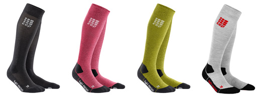 CEP Outdoor Light Merino Socks showing all 4 available colours