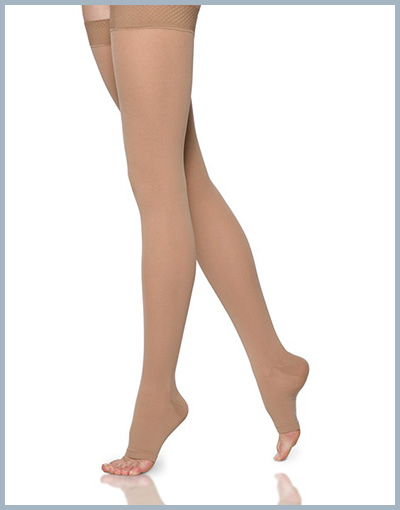 Sigvaris cofort thigh high open toe